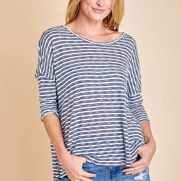 Jack June Gloom Stripe Cotton Blend Long Sleeve Top