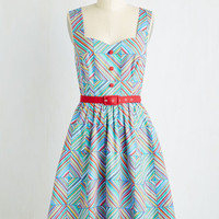 Vintage Inspired Mid-length Sleeveless Fit & Flare Biking Through Brussels Dress in Prism