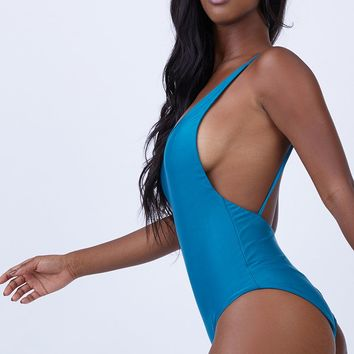 Thin Strap Maillot One Piece Swimsuit - Blue Topaz