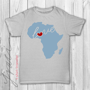 "INSTANT DOWNLOAD - ""Love Africa""  Printable Iron on T-Shirt Transfer Design"
