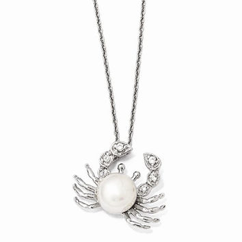 Sterling Silver CZ Freshwater Crab Pearl Necklace