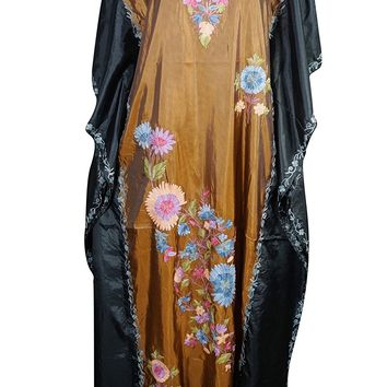 Mogul Womens Caftan Maxi Dresses Stylish Cruise Silk Kashmiri Embroidered Kaftan: Amazon.ca: Clothing & Accessories
