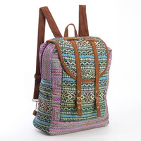 Large Exotic Dazzling Green/Purple Backpack Oriental Traditional Hand Stitched Textile