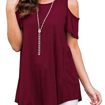 Summer New Women Cold Shoulder Loose Round Neck Chiffon T-Shirt Solid Color Tee Simple Ladies Casual Tops