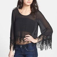 One Rad Girl 'Gwyneth' Lace Fringe Chiffon Crop Top