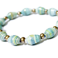 Beach Color Paper Bead Bracelet - Reiki Charged Upcycled Hand Rolled
