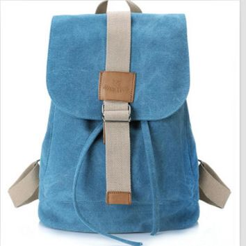 Fashionable draw string canvas backpack Sky blue