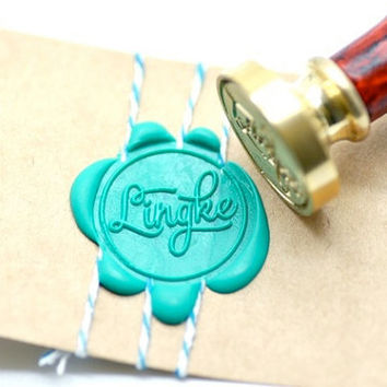 Personalized Custom Calligraphy Name Gold Plated Wax Seal Stamp x 1