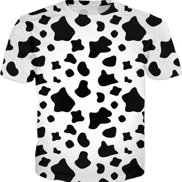 Funny cow spots pattern men fit shirt, black and white t-shirt design, animal themed