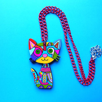 Girl necklace,cat necklace, animal necklace, cat pendant,blue, gift for teen girls,little girl jewelry,funky,funny,cute,kawaii,lightweight