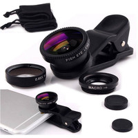 Black Mobile Phone Camera Lens Kit Fish Eye Lens (3 Pcs)