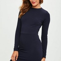 Missguided - Navy Crepe Long Sleeve Dress