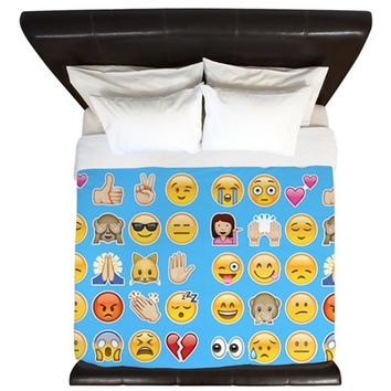 blue emoji King Duvet