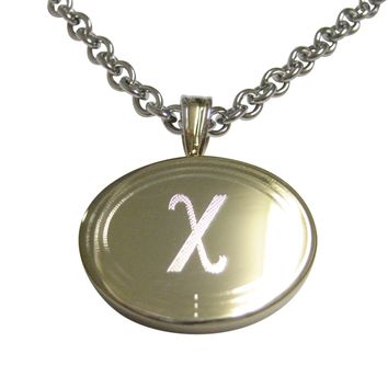 Gold Toned Etched Oval Greek Letter Chi Pendant Necklace