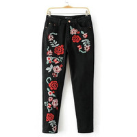 Tangada European Fashion Large Sizes Black Jeans For Women High Waist Embroidery Vintage Floral Cozy Pockets Denim Pans 2A121