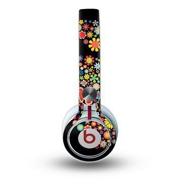 The Apple Icon Floral Collage Skin for the Beats by Dre Mixr Headphones