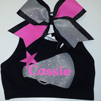 Custom Cheer Bra with Matching Bow