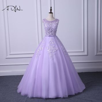 ADLN Scoop Sleeveless Lilac Prom Dresses Delicate Beaded A-line Long Evening Party Gown Vestidos de Festa Graduation Wear 2018