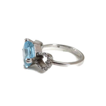 Blue Topaz & Diamond Ring - 14K White Gold, Octagon Cut Topaz 2.68ct, Diamonds 0.078ct, Size 5
