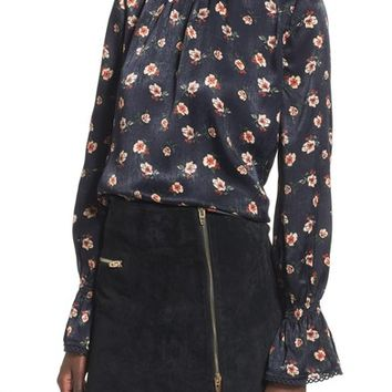 J.O.A. High Neck Satin Blouse | Nordstrom