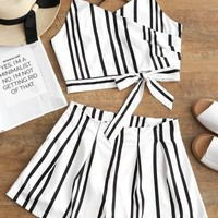 Striped Bowknot Cami Top and Shorts Set