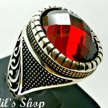 Men's Ring, Turkish Ottoman Style Jewelry, 925 Sterling Silver, Authentic Gift, Traditional, Handmade, With Garnet Stone, US Size 12, New