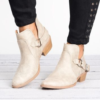 Sochi Buckle Booties-Stone