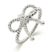 Silver-Tone Twisted Bow Ring