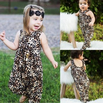 Newborn Baby Girls Leopard Harem Romper Playsuit Outfits Clothes Summer US Sale