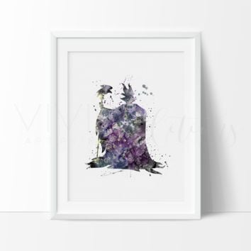Maleficent Watercolor Art Print
