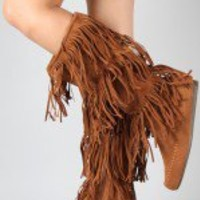 Cherokee-03F Fringe Round Toe Knee High Boot