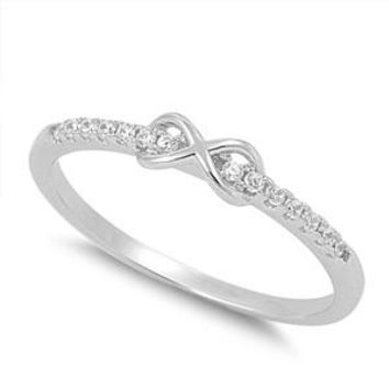 Sterling Silver Infinity Promise Cz Ring