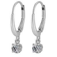 Diamond Earrings - Dangling Diamond Stud Earrings 1/3 carat TW in 14K White Gold - FEA3