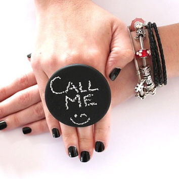 CHALKBOARD Ring Ceramic  - big bold oversized handmade novelty ring - CALL ME - 2.3 inch