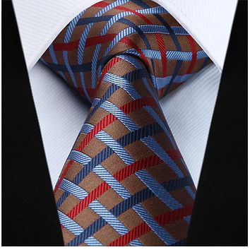 Brown Blue Red Plaid Checks Necktie Pocket Square