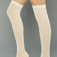 The Sweetheart Crochet Over-the-Knee Sock by Betsey Johnson | Karmaloop.com