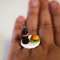 Kawaii Miniature Food Ring  Coke Cola and by fingerfooddelight