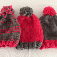 Knit Winter Hat - Twin Set Hats - Triplet Clothing - Wool Hats - Handmade Gift - Triplet Baby Shower - Baby Clothing - Grey Pink Wool Hats