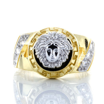 10K White Gold Versace Head and Yellow Gold Ring with CZ