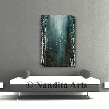 """Painting, Teal abstract painting on canvas, Teal Landscape Art, Living room Home Decor Size: 24"""" x 36""""(60.96 cmx 91.44cm) Fast shippinng"""