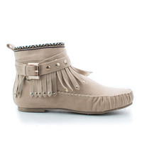 Kalisa63 Taupe Suede Round Toe Studded Ankle Wrap Fringe Tribal Moccasin Flat Booties