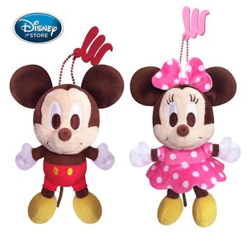 Disney 14CM/5.5'' Mickey Minnie Mouse Plush Toys Doll Winnie the Pooh Bear Squirrel Bag Ornament Keychain Chip Dale Pendant Toys