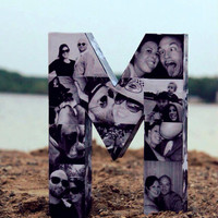 Photo letter custum Wedding Engagement Bridal Pet Personalized Picture Paper Mache Collage 3D all sides any letter of Alphabet 360 friends