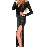 Missguided - Laurette Premium Sequin Maxi Dress In Black
