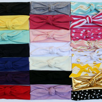 Set of 6 Baby Girl Knotted Headband - top knot headband turban jersey headbands head band girl head wrap baby headwrap ponytail tie knot