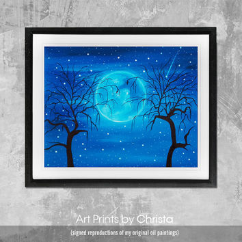 Moon print-Moonlight Poster-Wall art-moon painting-Sea print-Typography-moon poster- Home Decor-Digital Print-Art-from painting.