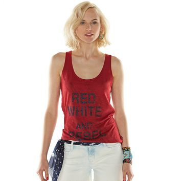 Rock & Republic ''Red White and Rebel'' Graphic Tank - Women's, Size: