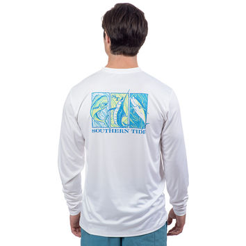 T3 Gamefish Performance Long Sleeve Tee Shirt in White by Southern Tide