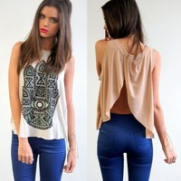 NUDE BEIGE HAMSA PRINTS CUT OUT FLIP UP BACK BACKLESS SINGLET TANK TOP 8 10 12