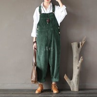 2016 New Arrival Women Corduroy Overalls Boy Friends Fit Woman Jumpsuit loose full length pants Femme Bib Causal Daily Trousers